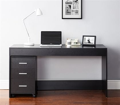 Yak About It Simple Style Work Desk (Includes 3 Drawer Unit) – Black