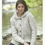 James C Brett Ladies Hooded Jacket in Aran with Wool Knitting