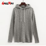 Jumper Autumn Warm Hoodies For Women Ladies Black Woman Knitted