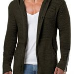 Mens Cardigans Knitted Hoodie Jacket Long Sleeve Casual Sweater with
