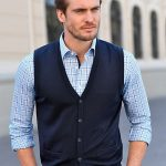 Men Knitted waistcoat in 100% new milled wool-navy MAUUMA