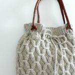 Hand knitted drawstring bag with leather handles   Sew in Love