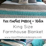 Crochet a King Size Farmhouse Blanket - Free pattern - MJ's off the Hook Designs