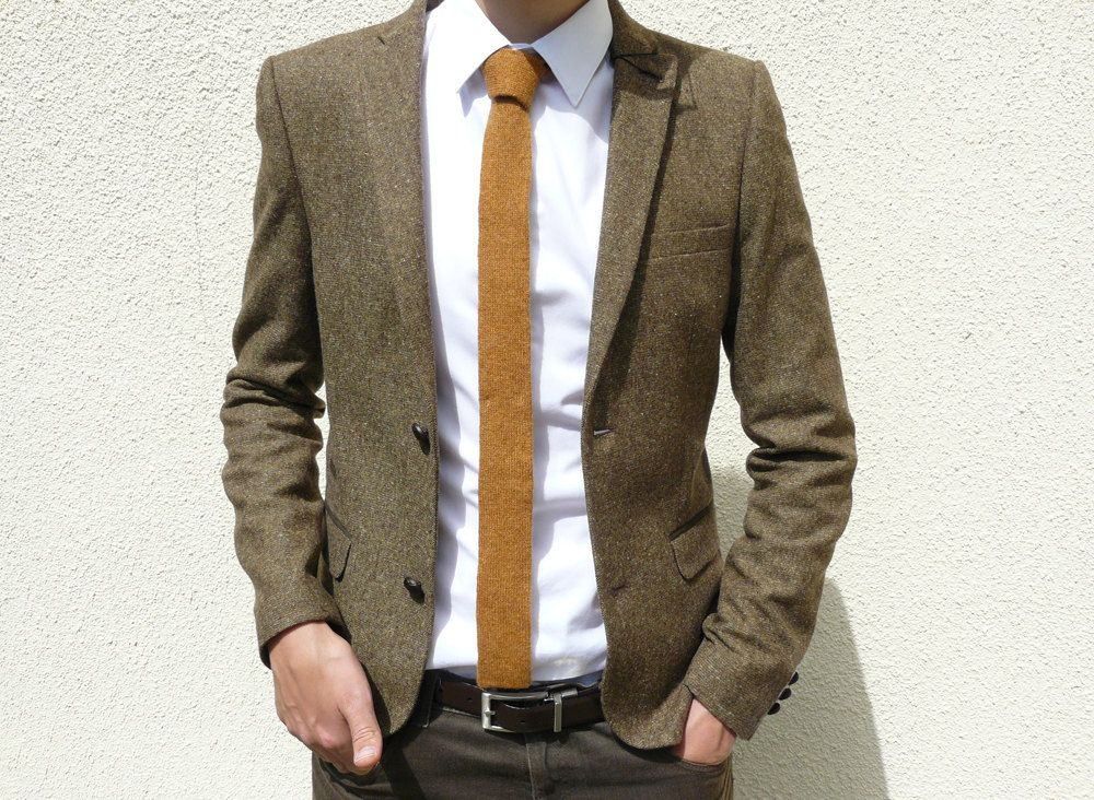 Skinny Knitted Tie in Golden Mustard Brown Lambswool – MADE TO ORDER