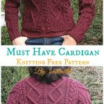 Must Have Cable Cardigan Knitting Free Pattern  - Women Cardigan