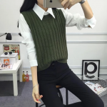 2018 spring  Autumn pullover knit round neck vest for Women Korean style Fashion Knitted sleeveless pullover Sweater