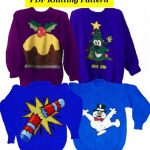 """4 x Childrens & Adults Christmas Jumper Knitting Patterns #8 Snowman Xmas Tree Cracker Pudding PDF Instant Download Xmas 24 - 40"""" Chest"""