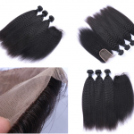 4PCS/Lot Kinky Straight Lace Closure +Brazilian Hair Extensions