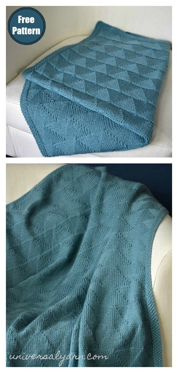 7 Purls and Triangles Blanket Free Knitting Pattern