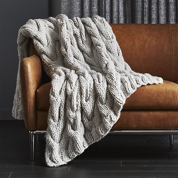 Chunky Light Grey Cable Knit Throw + Reviews | CB2