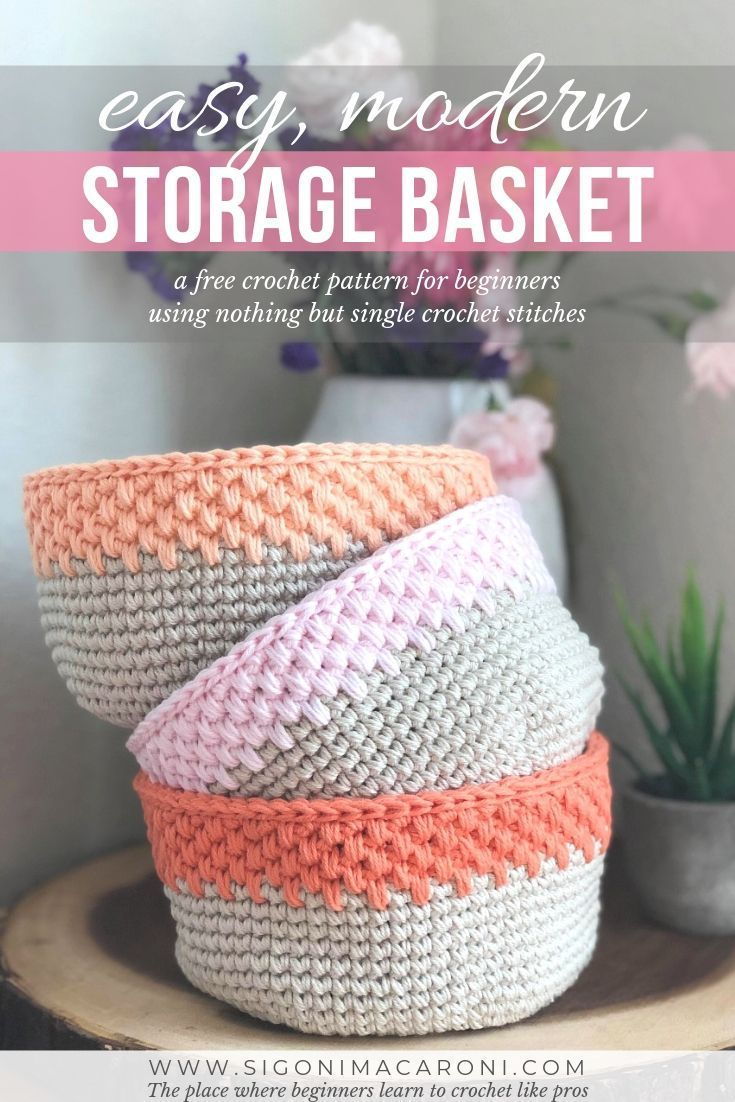 Easy Modern Crochet Storage Basket – Free Crochet Pattern