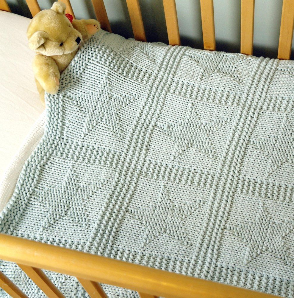 Easy chunky baby blanket with star pattern Knitting pattern by Sproglets Kits