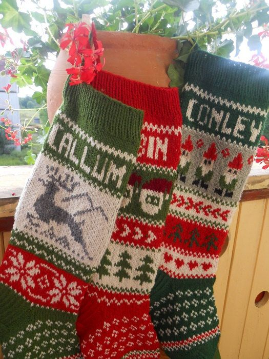 FOR 2020! Knit Christmas Stockings 24″ or 26″ Personalized Hand knit Wool Red Green Gray Deer Santa Gnomes Snowmen Bear Snowflakes