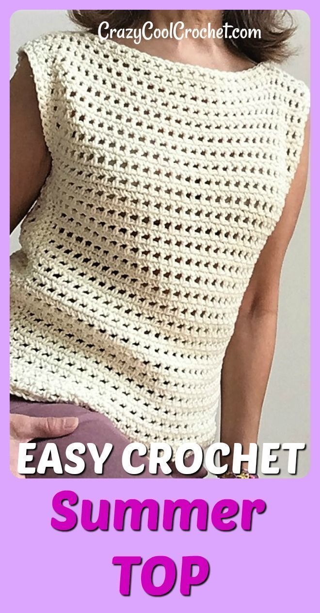 FREE crochet pattern for this easy, breezy, crochet summer top. Very easy for cr…