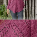 Free Crochet Pattern for a Raglan Sweater with Angled Fans and Lace - Crochet and Knitting Patterns