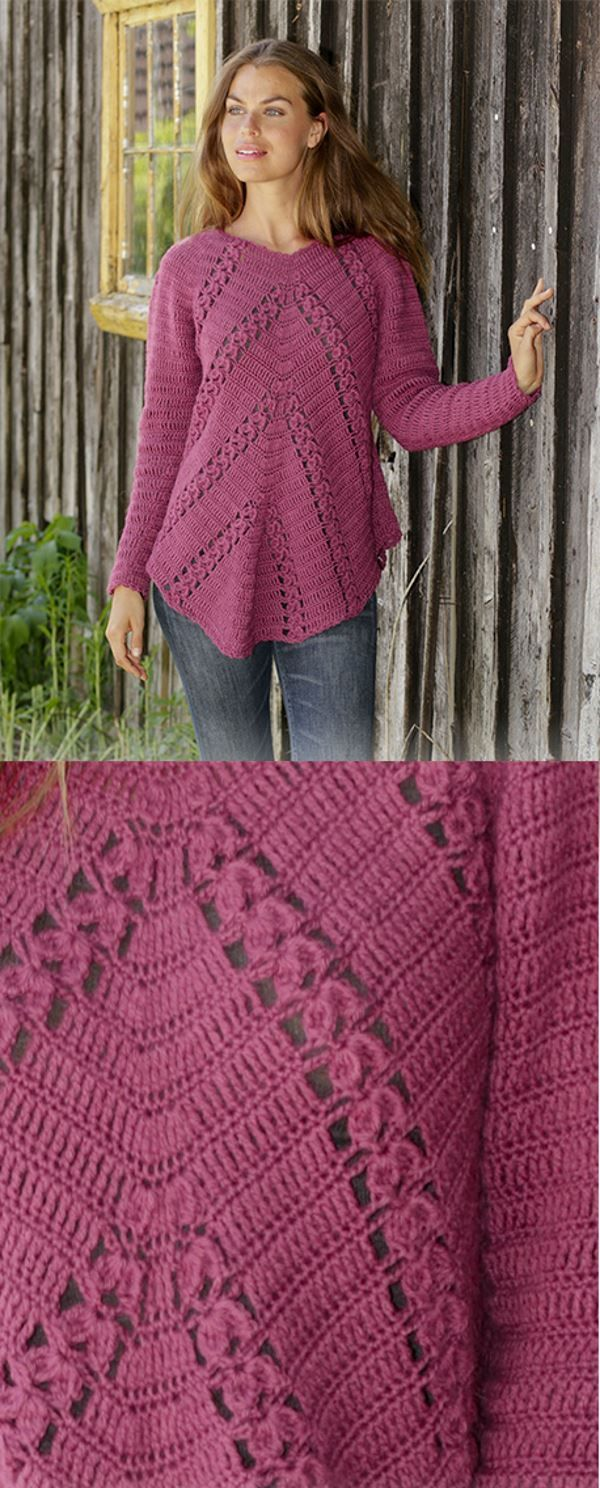 Free Crochet Pattern for a Raglan Sweater with Angled Fans and Lace – Crochet and Knitting Patterns