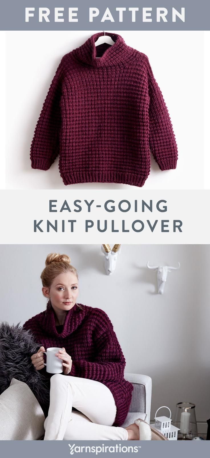 Free Easy Knit Sweater Pattern | Made with #Bernat Roving, a soft, thick, and ea… – Knitting Crochet ideas