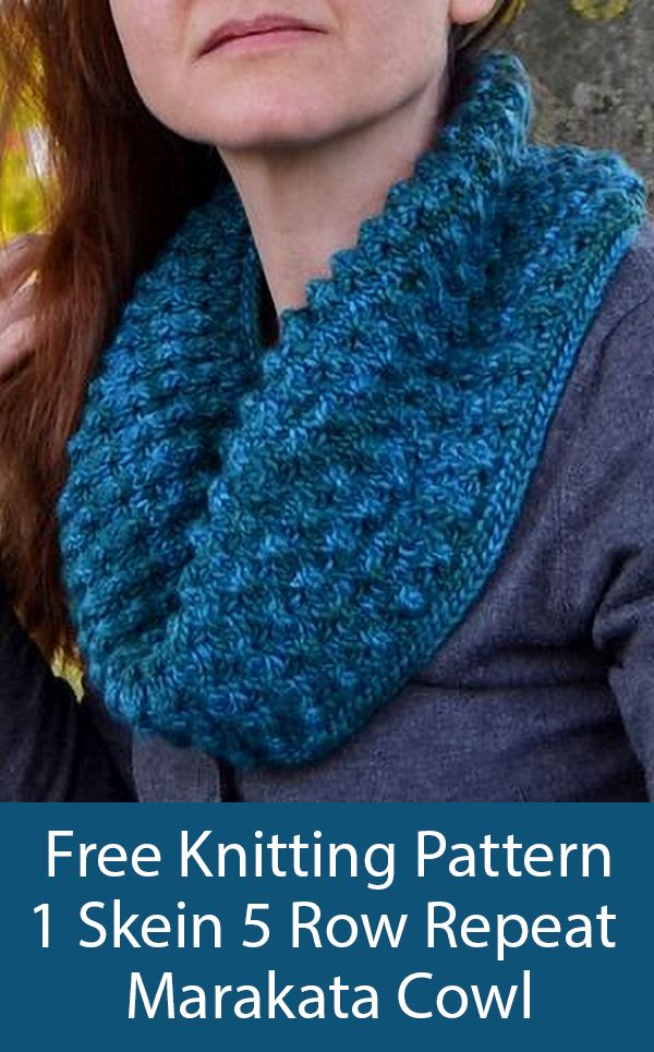 Free Knitting Pattern for Easy 5 Row Repeat One Skein Marakata Cowl