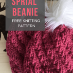 Free knitted hat pattern: spiral beanie. Easy to make, beginner friendly. Knits ...