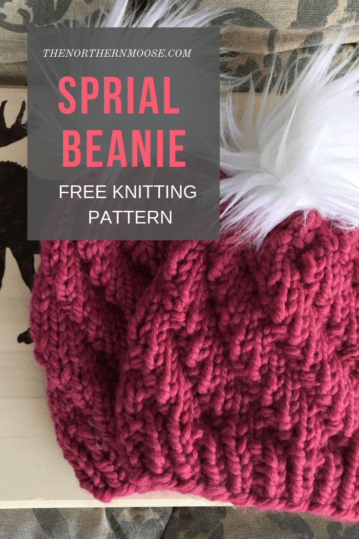 Free knitted hat pattern: spiral beanie. Easy to make, beginner friendly. Knits …
