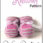 Free knitting pattern for cute baby booties knitted flat on two needles with sho...