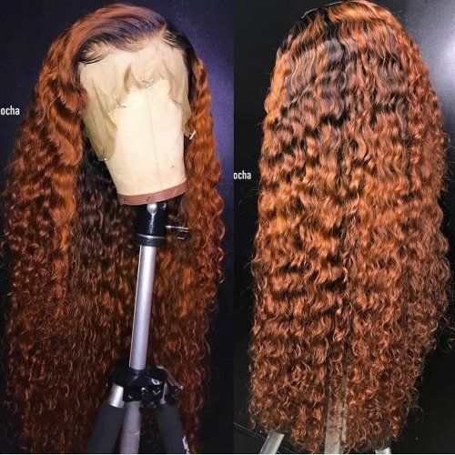 Front Lace Wig dark roots 30 Color Ombre 130% 13×6 Lace Wig water wave Human Hair For Black Women