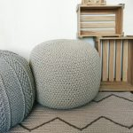 Grey knitted pouf Floor pouf