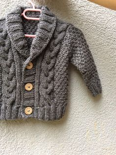 Gris knitted baby Cardigan, Baby Boy Cable Sweater, Hand Knit Winter Coat, Coming Home Outfit, Baby Knitwear, Birthday Gift, Photo Prop Coat