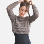 Items similar to Crop Top Sweater in Light Brown, Hand Knit Short Top, Boat Neck Sweater, Womens Cropped Top, Custom Winter Top on Etsy