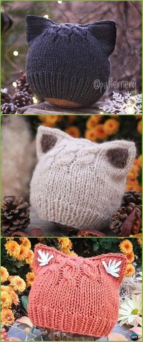 KNITTING PATTERN – Simple Kitten or Fox Ears Beanie (Nb, Baby, Toddler, Child, Adult) – Flat and Round Instruction, Pdf in ENGLISH Language.