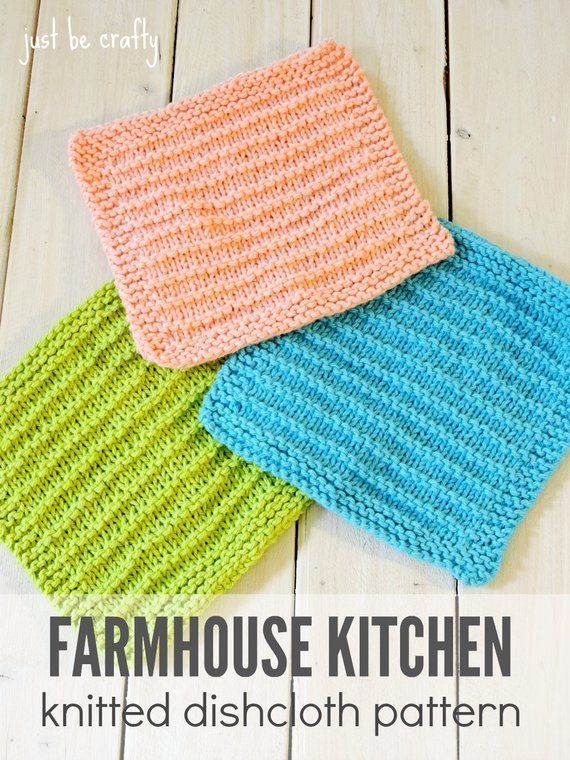 Knitted Dishcloth Pattern – PDF Download; Farmhouse Kitchen Dishcloth Pattern; Knitted Dishcloth; Easy Knit Dishcloth Pattern;