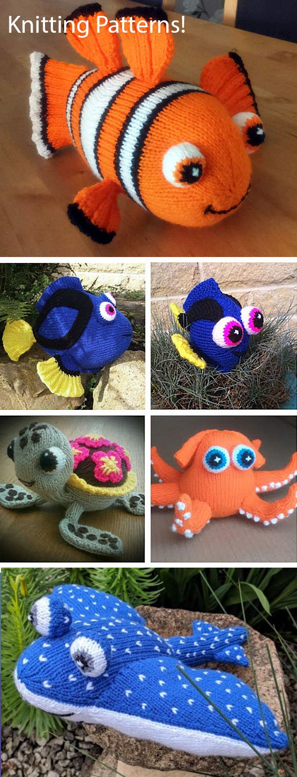 Knitting Patterns for Finding Nemo and Finding Dory Toys
