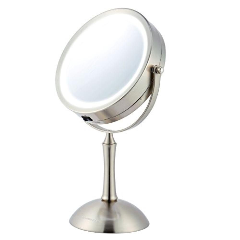 Ovente Lighted Makeup Mirror Cool LED Lighting Illuminated Tabletop Vanity Mirror with 1x or 8x Magnification MDT70BR1x8x – The Home Depot