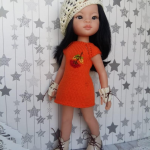 Paola Reina outfit, cute set knitted dress & crochet beret for 13 inch doll, fashion knit clothes, modern clothing