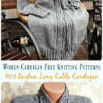 Raglan Knit Long Cable Cardigan Knitting Free Pattern - Women Cardigan