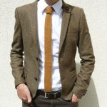 Skinny Knitted Tie in Golden Mustard Brown Lambswool - MADE TO ORDER