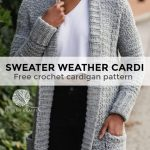 The Sweater Weather Cardi, a Long Modern Cozy Crochet Cardigan Pattern with Pockets - TL Yarn Crafts