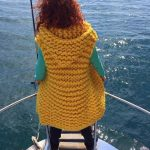 Yellow knitted hoodie vest Chunky knit Womens sleeveless open front mid-long knit cardigan sweater vest Merino wool oversized long cardigan