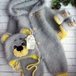 crochet pattern coming home outfit Pretty bear Expecting for baby boy gift pregnancy reveal gender party shower  with hand newborn giftbox