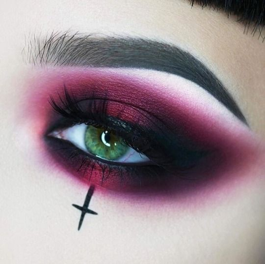 fashion, make-up, eyes, eyeshadow, red, goth, punk, crosses #CombinationSkinMake…